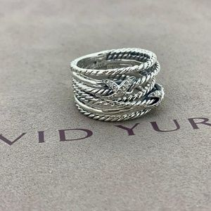 David Yurman Double X Ring with Diamonds